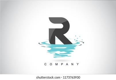 R Letter Logo Design with Water Splash Ripples Drops Reflection Vector Icon Illustration.