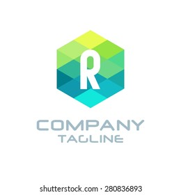 R Letter Logo Icon Hexagon Mosaic Pattern Design template Element - Creative Shape Polygonal logo design - Vector illustration