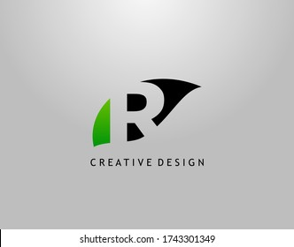 R Letter Logo. Modern Abstract of Hidden R With Simple Leave Shape. Eco Nature Concept Design.