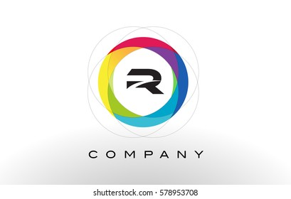 R Letter Logo with Rainbow Circle Design. Colorful Rounded Circular Letter Design