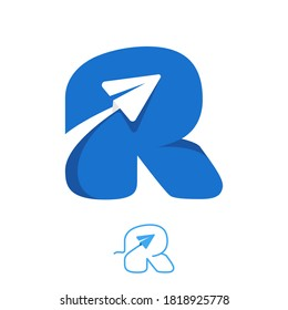 R letter logo set consisting of line and negative space paper plane icons. Designed for flight company advertising, travel sign, airways identity, etc.