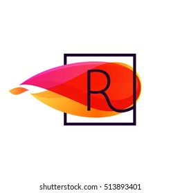 R letter logo in square frame at fire flame background. Vector typography for your posters, invitations, cards.