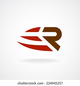 R letter logo template. Fast speed symbol. Rapid move.