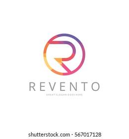 R letter logo template. Polygonal letter logotype