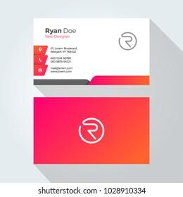 R Letter Modern Minimal Abstract Alphabet Business card design template