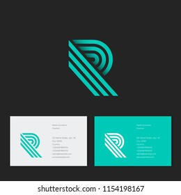R letter. R monogram consist of green lines, isolated on a dark background. Monochrome option.
