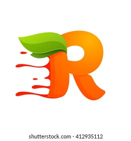 R letter with orange juice drops and leaves. Vector design template elements for your application or corporate identity.