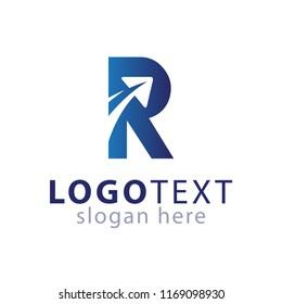 R letter with plane travel logo icon vector template