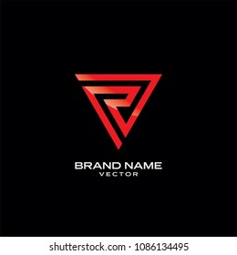R Letter in Red Triangle Line art Logo Template