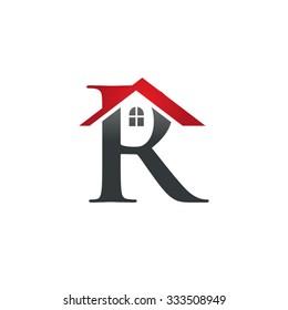 R letter roof shape logo red