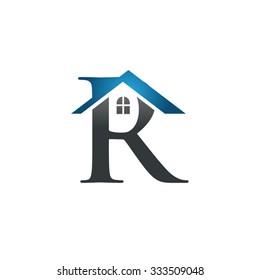 R letter roof shape logo blue
