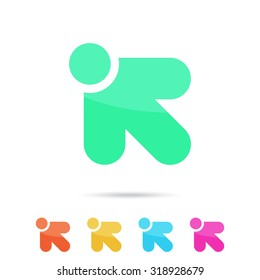 R letter sign, arrow with color variations, 2d vector on white background, eps 10