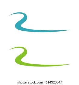 R Letter Swoosh River Shape Vector Illustration Logo Template Illustration Design. Vector EPS 10.