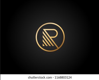 R letter Vector Design in gold color