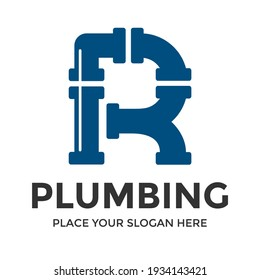 R Letter vector logo template. This design use pipe symbol. Suitable for industrial.