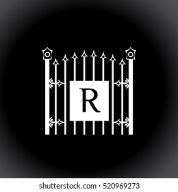 R letter vintage fence vector logo design template. Vintage Luxury Gate Logo