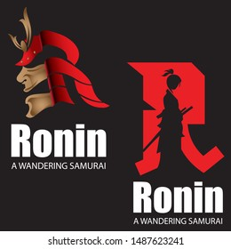 R logo, letter based R icon Wandering Japanese Swordman or Ronin Warrior