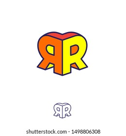R and R logo. Two letters are connect as the volume figure. Double R letters emblem like 3D. Monochrome option.