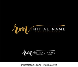 R M Initial handwriting logo vector. Hand lettering for designs.
