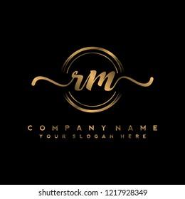 R M Initial handwriting logo vector