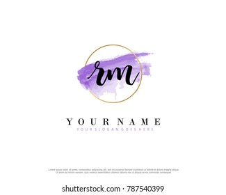 R M Initial water color logo template vector