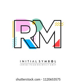 R M Memphis letter style, initial logo template vector full color.