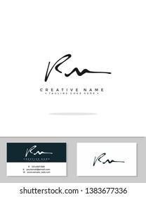R M RM initial handwriting logo template vector.  signature logo concept