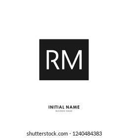 R M RM Initial logo letter with minimalist concept. Vector with scandinavian style logo.