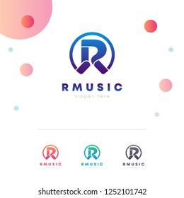 R Music Letter Logo Design