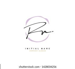 R N RN Beauty vector initial logo, handwriting logo of initial signature, wedding, fashion, jewerly, boutique, floral and botanical with creative template for any company or business.
