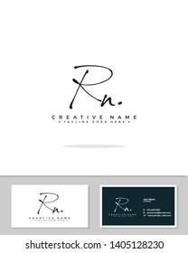 R N RN initial handwriting logo template vector.  signature logo concept