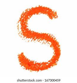 R - Orange handwritten letters on white background. Panda oil pastel colors.  Vector Illustration.