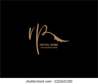 R P Initial Handwriting Logo Template