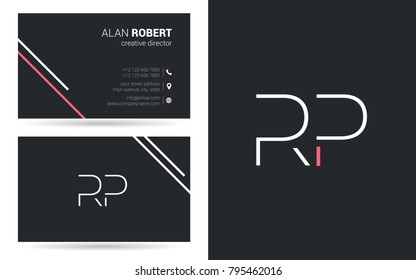 R & P joint logo stroke letter design with business card template