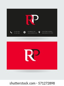 R & P Letter logo design vector element with Business card