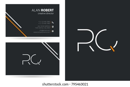 R & Q joint logo stroke letter design with business card template