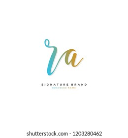 R A RA Initial letter handwriting and  signature logo concept design