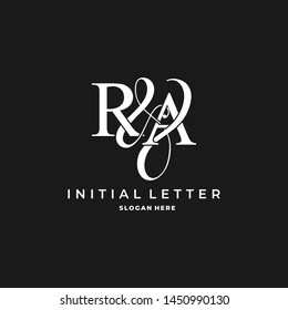 R & A / RA logo initial vector mark. Initial letter R and A RA logo luxury vector logo template.