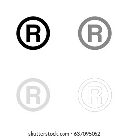 R - Registered Trademark symbol in black, gray and line art. Vector illustration, easy to edit.