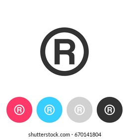R - Registered Trademark symbol isolated on white background. Button with symbol for your design. Vector illustration, easy to edit.