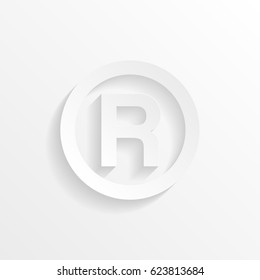 R - Registered Trademark symbol with shadow. Cut paper isolated on a white background. Vector illustration.