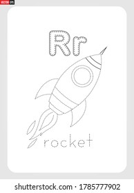 R for Rocket Alphabet  with illustration for Tracing Worksheet, Exercises for kids