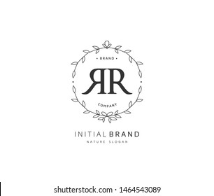 R R RR Beauty vector initial logo, handwriting logo of initial signature, wedding, fashion, jewerly, boutique, floral and botanical with creative template for any company or business.