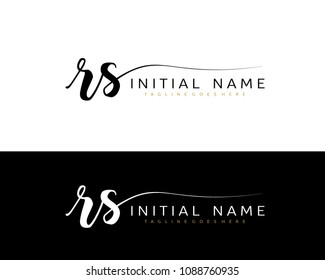 R S Initial handwriting logo vector. Hand lettering for designs.