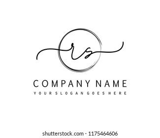 R S Initial handwriting logo vector