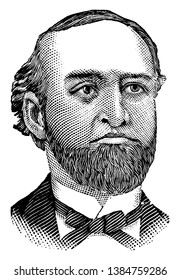 R. T. Bush, he was president of the Bush and Denslow manufacturing company, refiners and dealers in oil, vintage line drawing or engraving illustration