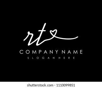 R T Initial handwriting logo vector