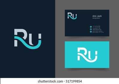 R & U Letter logo design with Business card template