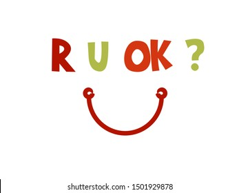 R U OK Day picture vector image with colorful letter
