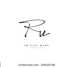 R U RU Beauty vector initial logo, handwriting logo of initial signature, wedding, fashion, jewerly, boutique, floral and botanical with creative template for any company or business.